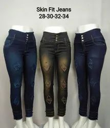 Button Ladies Stretchable Skin Fit Jeans, Waist Size: 28-34
