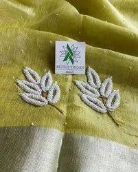 Tissue Linen Moti Work Sarees