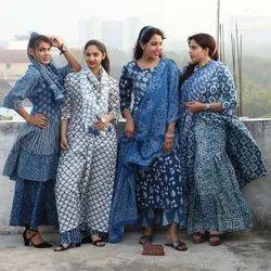 Cotton Hand Block Printed Ladies Garment, 15-100