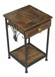 Brown Contemporary Wrought Iron Side Table - Single Drawer For Home & Hotel, Number Of Drawer: 1