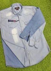 SNAPSHIRT Plain Mens Denim Shirts