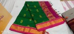 Party Wear Plain Kalyani Cotton Saree, 6. With blouse