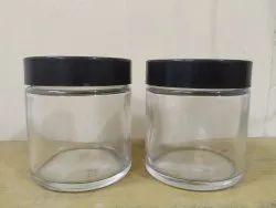100 Gm Clear Glass Cream Jar With Black Plastic Cap
