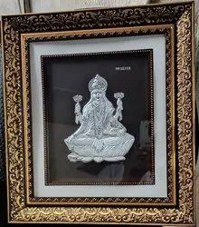 Silver Wooden Rectangle Goddess Laxmi Photo Frame, Size: 11.25*12.25 (l*w)