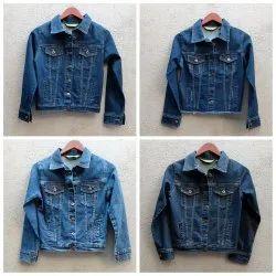 Full Sleeve Vintage wash,mid blue Stretch denim ladies jackets
