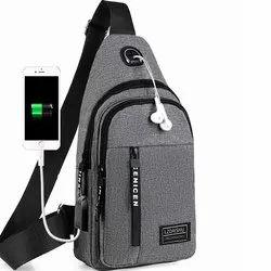 Sling Bag for Men Travel Messenger USB Charger Port