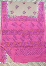 Mullmull Cotton Block Printed Sareee