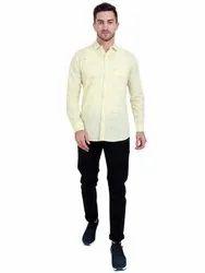 Yellow Collar Neck AADHAR Lenin checks Full sleeves shirt, Machine wash, Size: M L Xl