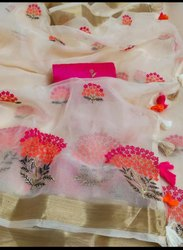 Linen Silk Thread Embroidered Work Sarees