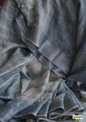 Linen Shibori Printed Hand Moti Work Sarees