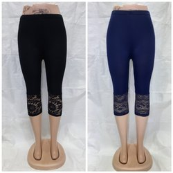 Black and blue Cotton Stretch 3/4 Leggings, 150, Size: Xl 28 to 34 waist