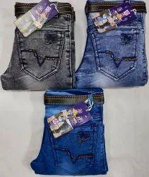 Party Wear Embroidery Kids Denim Jeans, Size: Kniting 32x40, Machine Wash