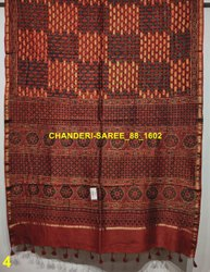 Ajrak Hand Block Print Chanderi Silk Saree