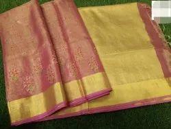 Embroidery Work Tissue Linen Saree