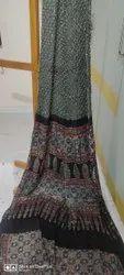 Authentic Ajrakh & Kutchi Bandhej Hand Block Printed Silk Sarees