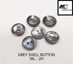 Round Grey Mop Shell Button 18L 2H, Size/Dimension: 11 Mm