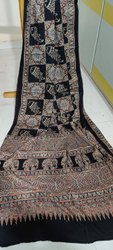 Ajrakh Hand Block Printed Silk Sarees