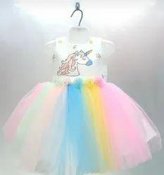 Designer Multicolor Unicorn Baby Frock