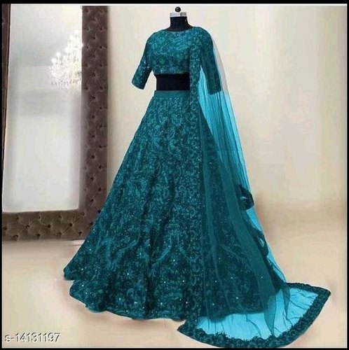 Party Wear Blue Lehenga, Sahana Collection | ID: 23013165233