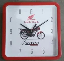 Right Quartz Red Square Plastic Printed Promotional Wall Clock, Size: 10x10 Inch