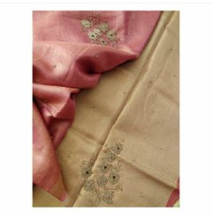 Tissue Linen Floral Hand Moti Sarees