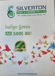 White 80 GSM A4 Indigo Green Copier Paper, For Printing,Photocopying Etc, Packaging Size: 500 Sheets per pack