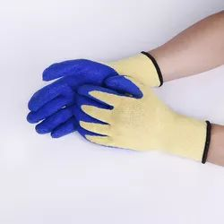 EN Poly Cotton Blue On Yellow Latex Crinkle Coated Hand Gloves, Size: Free