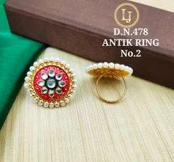 Golden Party Wear Antique Finger Ring