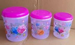 Plastic Kitchen Flower Print Container