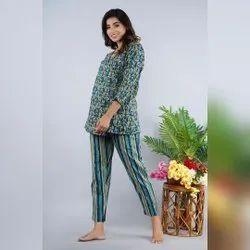 Short Length Cotton Night Wear Suit, Free Size, 18