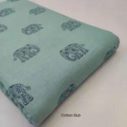 Block Print Cotton Slub Fabric