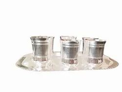 Silver Coated 6 Glass With Try