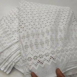 White Cotton Chikankari Fabric