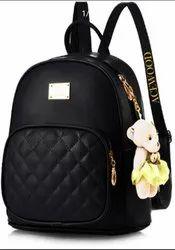 Black PU Ladies Bags, Size: 16 Inch
