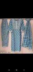 Hand Block Print Jaipuri Print Stitched  Suits With Gota Patti Work.