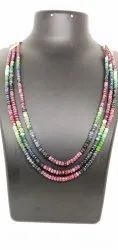 Emerald Ruby Blue Sapphire Bead Necklace