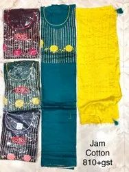 Unstitched Jam Cotton Embroidery Suits With Salwar Suits