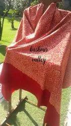 Red Vibrant Pure Pashmina Kala Kari Shawl