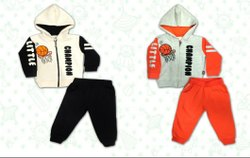 Multicolor Girl & Boy Kids Hooded Fleece Sets