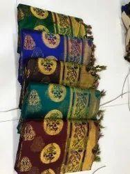 Party Wear Embroidered Chanderi cotton Designer Silk Saree, 6.30 M, With Blouse Piece