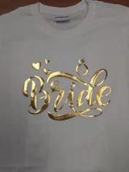 Vinyl gold print T-shirt