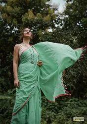 Handmade Plain Mulmul Cotton Sarees