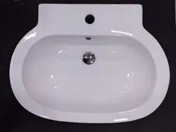 Counter Top Arts Basins Ceramic White Wash Basins with Faucet Provision, For Bathroom