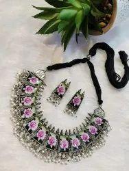 Oxidized Necklace PHOTO Meenakari Choker Necklace Set