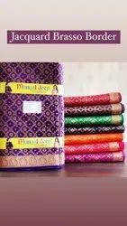 Pure Cotton Jacquard Brasso Border Rubia Fabric, Buttas, Multicolour