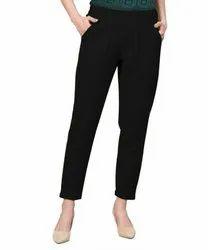 Ladies black cotton flex pant
