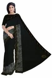 Black, Grey Casual Wear Ladies Embroidered Chiffon Saree, 6.3 m (with blouse piece)