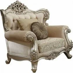 Anam Art White and Golden paint Wooden carving Royal look sofa chair, For Home