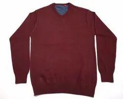 Men Maroon V Neck Cotton Sweater