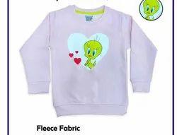 Round Neck Printed Girl's Fleece Sweatshirts